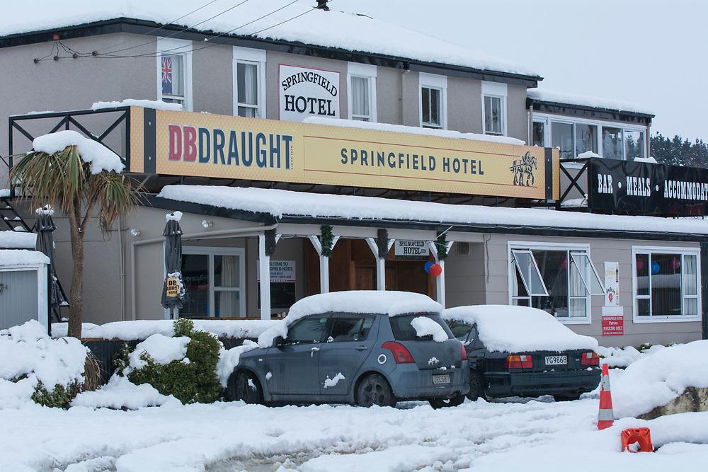 Snow at Springfield, inland Canterbury, New Zealand, Thursday, July 13, 2017. Credit:  SNPA / David Alexander -NO ARCHIVING-