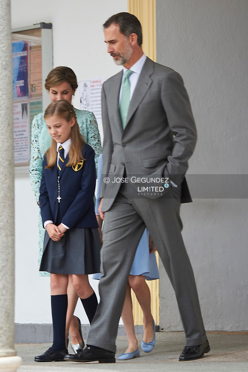 King Felipe VI of Spain, Queen Sofia of Spain, Princess Sofia, Crown Princess Leonor leave Asuncion de Nuestra Senora Church after the First Communion of Princess Sofia on May 17, 2017 in Aravaca near of Madrid.