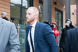 © Licensed to London News Pictures. 13/02/2018. Bristol, UK.  England cricketer BEN STOKES appears at Bristol magistrates' court today on charges of affray that relate to a fight outside a Bristol nightclub on September 25 2017. Stokes is hoping to be permitted to fly out to join England's tour to New Zealand but will wait to discover whether his case will be transferred to crown court.  Photo credit: Simon Chapman/LNP