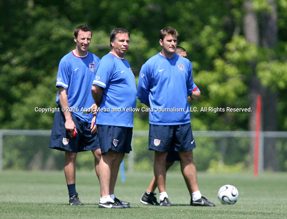 Head coach Bruce Arena (center) with trainer Pierre Barrieu (l) and assistant coach Curt Onalfo (r) on Wednesday, May 17th, 2006 at SAS Soccer Park in Cary, North Carolina. The United States Men's National Soccer Team held a training session as part of their preparations for the upcoming 2006 FIFA World Cup Finals being held in Germany.