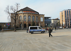 Germany, Freiburg - November 21, 2018.Police car seen in the Old Synagogue square (Platz der alten Synagoge) in front of the Theater of Freiburg next the University library (Credit Image: © Antonio Pisacreta/Ropi via ZUMA Press)