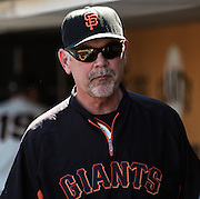 Bruce bochy in the dugout after the MLB game between the San Francisco Giants and the San Diego Padres, at AT&amp;T Park in San Francisco, CA.<br /> The Giants won 13-8 in 9 innings.<br /> Credit : Glenn Gervot