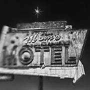 Mom's Motel Sign Northbound View - Tulare, CA - Highway 99 - HDR - Lensbaby - Infrared Black & White