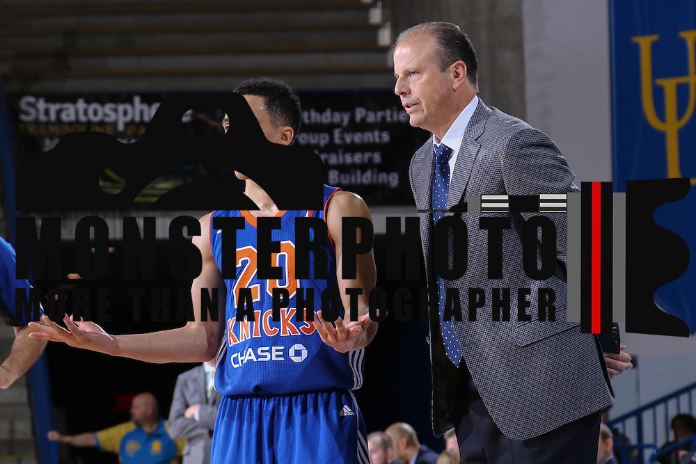 Westchester Knicks Guard TRAVIS TRICE II (20) talks to Westchester Knicks Head Coach MIKE MILLER in the first half of a NBA D-league regular season basketball game between the Delaware 87ers and the Westchester Knicks Saturday Dec, 26, 2015 at The Bob Carpenter Sports Convocation Center in Newark, DEL