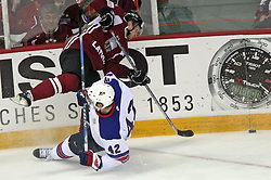 Arvids Rekis (3) of Latvia and David Backes (42) at ice-hockey match USA vs Latvia at IIHF WC 2008 in Halifax,  on May 02, 2008 in Metro Center, Halifax, Canada.  (Photo by Vid Ponikvar / Sportal Images)