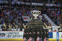 REGINA, SK - MAY 18: The Memorial Cup stands on the table at the start of game 1 of the MasterCard Memorial Cup at the Brandt Centre on May 18, 2018 in Regina, Canada. (Photo by Marissa Baecker/Shoot the Breeze)