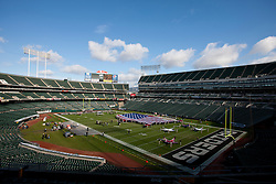 Nov 6, 2011; Oakland, CA, USA; General view of O.co Coliseum with an American flag on the field before the game between the Oakland Raiders and the Denver Broncos. Mandatory Credit: Jason O. Watson-US PRESSWIRE