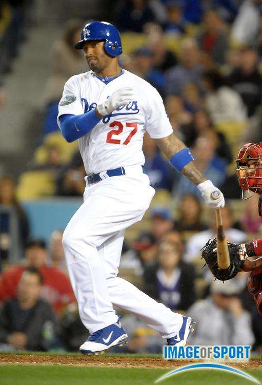 Apr 3, 2012; Los Angeles, CA, USA; Los Angeles Dodgers center fielder Matt Kemp (27) bats against the Los Angeles Angels at Dodger Stadium.