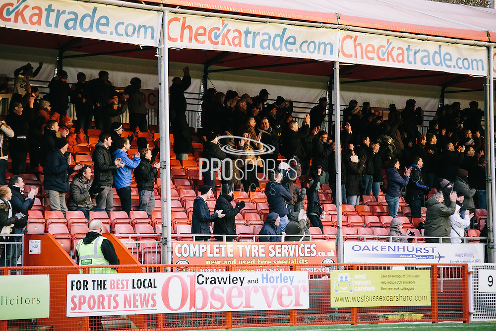 vale fans after 1st goal during the Sky Bet League 1 match between Crawley Town and Port Vale at Broadfield Stadium, Crawley, England on 20 December 2014. Photo by Sam Shaw.