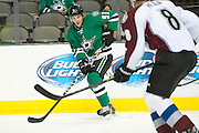 DALLAS, TX - SEPTEMBER 26:  Tyler Seguin #91 of the Dallas Stars controls the puck against the Colorado Avalanche on September 26, 2013 at the American Airlines Center in Dallas, Texas.  (Photo by Cooper Neill/Getty Images) *** Local Caption *** Tyler Seguin