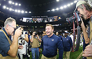 Jan 20, 2019; New Orleans, LA, USA; Los Angeles Rams head coach Sean McVay smiles following the NFC Championship at Mercedes-Benz Superdome against the New Orleans Saints. The Rams beat the Saints in overtime 26-23 and head to Super Bowl 53 in Atlanta. (Steve Jacobson/Image of Sport)