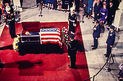 President Richard M. Nixon pays tribute to US Senator Richard Russell (D-GA) as Russell lies in state in the rotunda of the Georgia State Capitol in Atlanta, GA