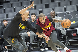 December 27, 2017 - Sacramento, CA, USA - Phil Handy, left, a Cleveland Cavaliers assistant, works with Isaiah Thomas before a game against the Sacramento Kings on Wednesday, Dec. 27, 2017, at Golden 1 Center in Sacramento, Calif. Thomas, who was orginally drafted by the Kings, is still on injured list. (Credit Image: © Hector Amezcua/TNS via ZUMA Wire)