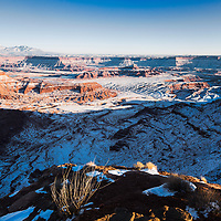 Snow covered valley of Dead Horse Point State Park, near Moab, UT