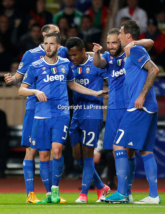 Photo LaPresse - Spada<br /> May 03 , 2017  , Monaco <br /> Sport Soccer<br /> Monaco - Juventus <br /> Champions League 2016 2017 <br /> In the pic: celebrates after scoring , higuain 0-2