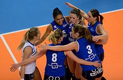 16-02-2013 VOLLEYBAL: CUP FINAL4 SLIEDRECHT SPORT - VV ALTERNO: ZWOLLE<br /> Alterno verslaat Sliedrecht Sport verrassend met 3-0 / (L-R) Celia Diemkoud, Bianca Gommans, Sterre van Doorn<br /> ©2013-WWW.FOTOHOOGENDOORN.NL
