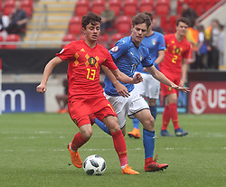 May 17, 2018 - United Kingdom - Elias Sierra of Belgium Under 17 .during the UEFA Under-17 Championship Semi-Final match between Italy U17s against Belgium U17s at New York Stadium, Rotherham United FC, England on 17 May 2018. (Credit Image: © Kieran Galvin/NurPhoto via ZUMA Press)