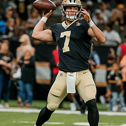 Aug 30, 2018; New Orleans, LA, USA; New Orleans Saints quarterback Taysom Hill (7) before a preseason game against the Los Angeles Rams at the Mercedes-Benz Superdome. Mandatory Credit: Derick E. Hingle-USA TODAY Sports