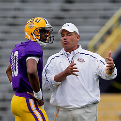 18 April 2009: LSU Tigers head coach Les Miles talks with freshman quarter Russell Shepard (10) during the 2009 LSU spring football game at Tiger Stadium in Baton Rouge, LA.