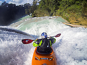 Rafael Ortiz performing in Agua Azul river during expedition Red Bull Chasing Waterfalls Chiapas, Mexico, on 21th  January 2014