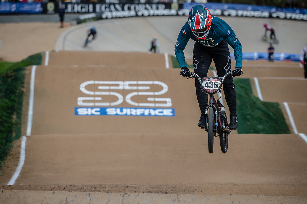 #436 (MIR Amidou) FRA at Round 2 of the 2020 UCI BMX Supercross World Cup in Shepparton, Australia.