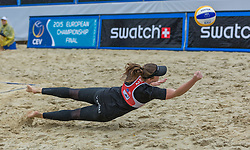29.07.2015, Strandbad, Klagenfurt, AUT, A1 Beachvolleyball EM 2015, im Bild Katharina Elisabeth Schützenhofer 2 AUT// during of the A1 Beachvolleyball European Championship at the Strandbad Klagenfurt, Austria on 2015/07/29. EXPA Pictures © 2015, EXPA Pictures © 2015, PhotoCredit: EXPA/ Mag. Gert Steinthaler