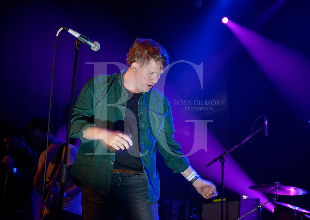 GLASGOW, UNITED KINGDOM - MAY 04: Gareth Paisey of Los Campesinos! performs on stage at 02 ABC during the Stag and Dagger music festival on May 4, 2014 in Glasgow, Scotland. Photo by Ross Gilmore