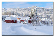 Winter landscape at Karisbekk, a small farm community in Setesdal, Aust-Agder, Norway.  Nikon D5, 70-200mm @ 70mm, f11, EV+0.67, 1/500sec, ISO320, Aperture priority