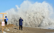 (SCITUATE MA 012416)-People get a close look for some pictures of the surf hitting the sea wall on Turner Rd. at Jericho Rd. Herald photo Chris Christo
