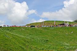 Crowds on the top of the Col de la Joux Plane during stage 6 of the Criterium du Dauphine. Photo by Simon Parker/SPactionimages