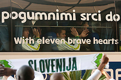 Rene Krhin and Elvedin Dzinic in a bus at departure of Slovenia National team from Southern Sun Hyde Park Hotel to airport for flight home after the last 2010 FIFA World Cup South Africa Group C  match between Slovenia and England on June 25, 2010 at Southern Sun Hyde Park Hotel, Johannesburg, South Africa. (Photo by Vid Ponikvar / Sportida)