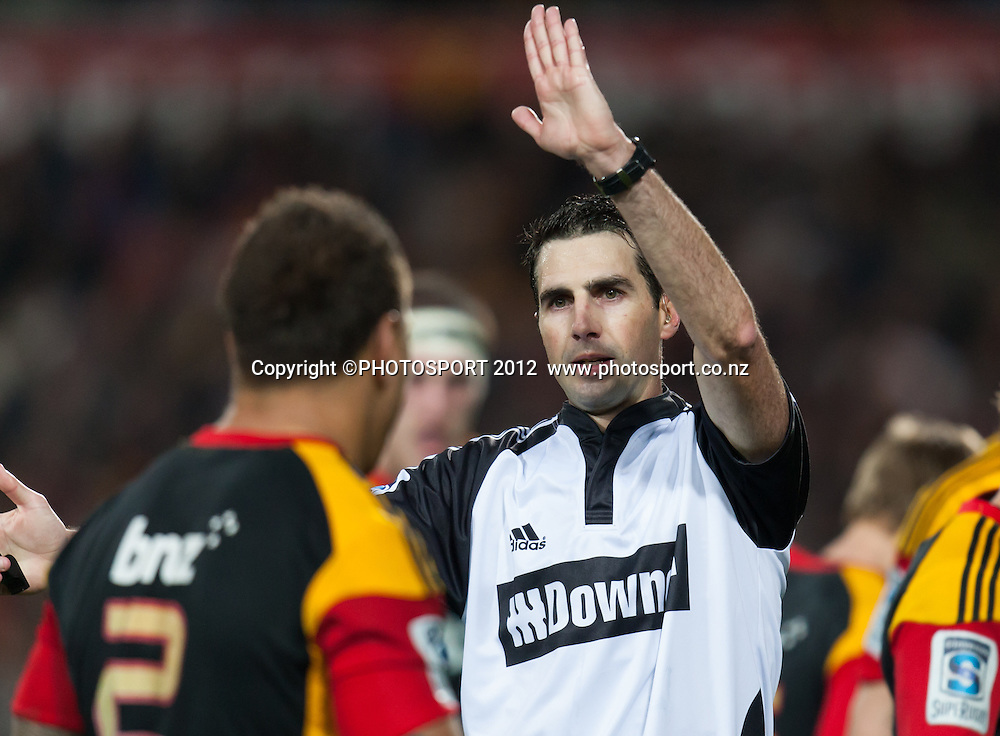 Referee Craig Joubert during the Super Rugby Semi Final won by the Chiefs (20-17) against the Crusaders at Waikato Stadium, Hamilton, New Zealand, Friday 27 July 2012. Photo: Stephen Barker/Photosport.co.nz