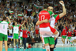 LA BULGARIA ESULTA ER LA VITTORIA.BULGARIA - SERBIA.PALLAVOLO TORNEO QUALIFICAZIONE OLIMPICA VOLLEY 2012.SOFIA (BULGARIA) 09-05-2012.FOTO GALBIATI - RUBIN