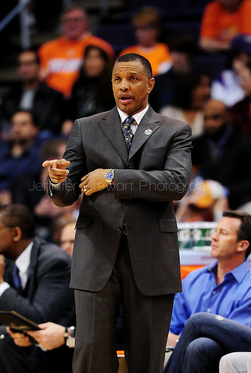 Mar. 14 2010; Phoenix, AZ, USA; Phoenix Suns head coach Alvin Gentry  at the US Airways Center. The Suns defeat the Hornets 120 to 106. Mandatory Credit: Jennifer Stewart-US PRESSWIRE.