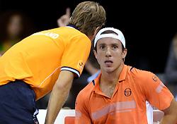 12-09-2014 NED: Davis Cup Nederland - Kroatie, Amsterdam<br /> Igor Sijsling verliest de eerste partij met 3-1
