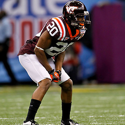 January 3, 2012; New Orleans, LA, USA; Virginia Tech Hokies cornerback Jayron Hosley (20) against the Michigan Wolverines during the Sugar Bowl at the Mercedes-Benz Superdome. Michigan defeated Virginia 23-20 in overtime. Mandatory Credit: Derick E. Hingle-US PRESSWIRE