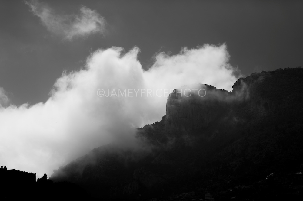 May 23, 2014: Monaco Grand Prix: Clouds roll over the mountains behind Monaco.