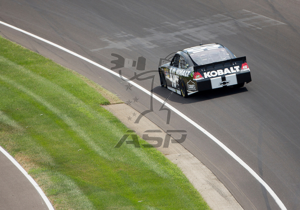 INDIANPOLIS, IN - JUL 29, 2012:  Jimmie Johnson (48) brings his car through the turns during the Curtiss Shaver 400 presented by Crown Royal at the Indianapolis Motor Speedway in Indianapolis, IN.