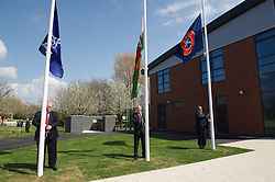 NEWPORT, WALES - Saturday, April 20, 2013: UEFA President Michel Platini raises the UEFA flag at the opening of the FAW National Development Centre in Newport. (Pic by David Rawcliffe/Propaganda)