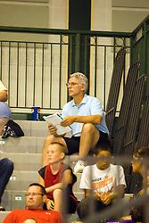 27 June 2009: Jim Molinari in blue shirt watching son play. Illinois Basketball Coaches Association Boys 3a4a All Star game.