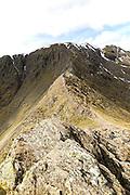 Striding Edge arete and Helvellyn mountain peak, Lake District, Cumbria, England, UK