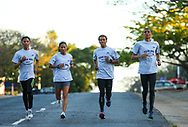 NELSPRUIT, SOUTH AFRICA - NOVEMBER 03: Rowhaldo Ratz, Nolene Conrad, Anthony Timoteus and Ashley Smith, elite athletes of Western Province Athletics, go for a light evening run before doing battle in the ASA 10km Championships on Saturday November 04, 2017 in Nelspruit, South Africa. (Photo by Roger Sedres/ImageSA/Gallo Images)