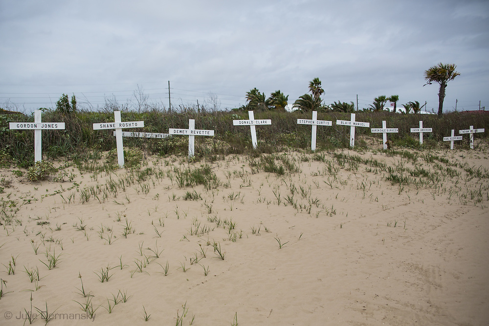April 9,  5 years after the BP oil spill a makeshift memorial for the 11 oil rig workers killed when the BP's blew up in the GUlf of Mexico