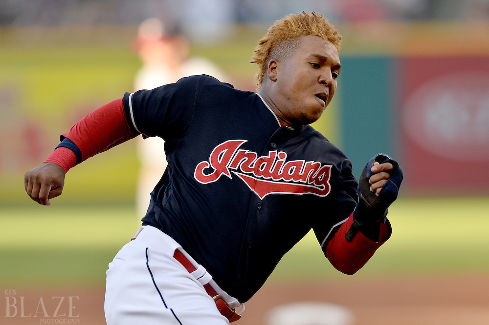 Aug 1, 2016; Cleveland, OH, USA; Cleveland Indians third baseman Jose Ramirez (11) rounds third base en route to scoring during the first inning against the Minnesota Twins at Progressive Field. Mandatory Credit: Ken Blaze-USA TODAY Sports