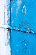 CHEFCHAOUEN, MOROCCO - 27th APRIL 2016 - Close-up of blue doorway in the Chefchaouen Medina - the blue city - Rif Mountains, Northern Morocco.