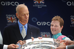Sir Henry Cecil, 10-time champion trainer, has died at the age of 70.<br /> Responsible for 25 British Classic winners, Cecil was also the leading handler at Royal Ascot with a record 75 successes.<br /> ASCOT 20-10-2012.<br /> Trainer Sir Henry Cecil and Tom Queally after FRANKEL had won the Qipco Champion Stakes.<br /> Photo by: Racingfotos.com / i-Images.