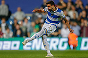 Queens Park Rangers defender Yoann Barbet (29) takes his penalty, penalty shoot-out, during the EFL Cup match between Queens Park Rangers and Bristol City at the Kiyan Prince Foundation Stadium, London, England on 13 August 2019.