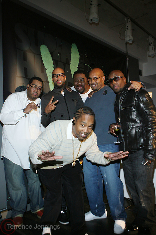 l to r: Teddy Ted(Awesome Two), Common, Biz Markie, DJ Whiz, Kwame and Cool V( in forefront) at the Common Celebration for the Capsule Line Launch with Softwear by Microsoft at Skylight Studios on December 3, 2008 in New York City..Microsoft celebrates the launch of a limited-edition capsule collection of SOFTWEAR by Microsoft graphic tees designed by Common. The t-shirt  designs. inspired by the 1980's when both Microsoft and and Hip Hop really came of age, include iconography that depicts shared principles of the technology company and the Hip Hop Star.