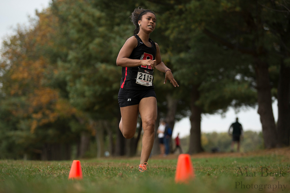 Rutgers Newark's Jazmyn Williams  - Collegiate Track Conference  Cross-Country Women's Championship at Gloucester County College in Sewell, NJ on Saturday October 19, 2013. (photo / Mat Boyle)