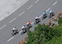 10.07.2019, Fuscher Törl, AUT, Ö-Tour, Österreich Radrundfahrt, 4. Etappe, von Radstadt nach Fuscher Törl (103,5 km), im Bild v.l. Stefan de Bod (RSA, Team Dimension Data), Amanuel Ghebreigzabhier (ERI, Team Dimension Data), Riccardo Zoidl (AUT, CCC Team), Eduardo Sepuvelda (ARG, Movistar Team), Ben Hermans (BEL, Israel Cycling Academy) // f.l. Stefan de Bod of the Republic the South Africa (Team Dimension Data) Amanuel Ghebreigzabhier of Eritrea (Team Dimension Data) Riccardo Zoidl of Austria (CCC Team) Eduardo Sepuvelda of Argentina (Movistar Team) Ben Hermans of Belgium (Israel Cycling Academy) during 4th stage from Radstadt to Fuscher Törl (103,5 km) of the 2019 Tour of Austria. Fuscher Törl, Austria on 2019/07/10. EXPA Pictures © 2019, PhotoCredit: EXPA/ Reinhard Eisenbauer